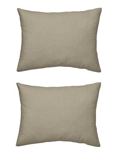 Maki %100 Pamuklu Saten 2 Adet 50x70 Yastık Kılıfı Saten Koyu Bej Bej